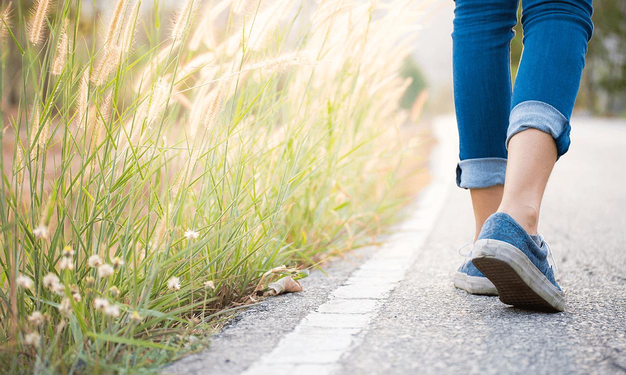 a woman on a walk