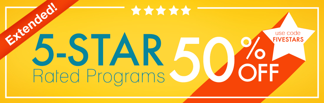 50% Off 5 Star Rated Programs -  Use Code FIVESTARS