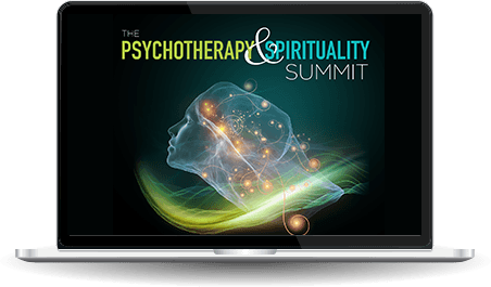 Laptop with the Psychotherapy and Spirituality Summit logo on the screen
